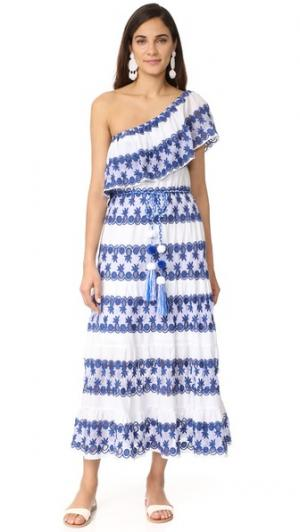 Макси-платье Madeline с открытым плечом Miguelina. Цвет: синий