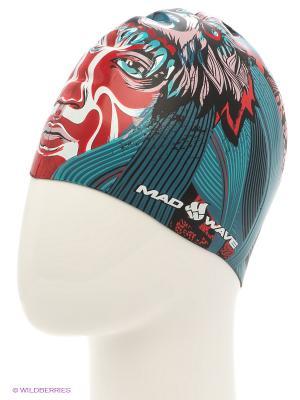 Шапочка для плавания TRIBE silicone printed Mad Wave. Цвет: морская волна, красный