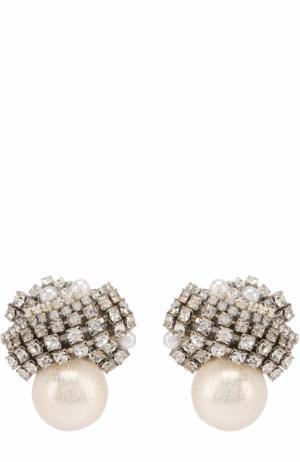 Серьги с жемчужинами и кристаллами Erickson Beamon. Цвет: белый