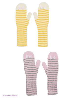 Варежки FOMAS. Цвет: розовый, желтый, молочный, светло-серый