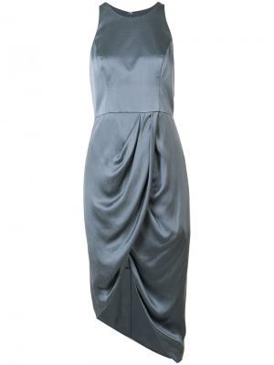 Асимметричное платье с запахом Zimmermann. Цвет: синий