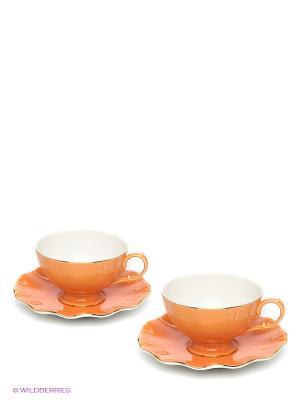 Чайная пара Грациозо Pavone. Цвет: персиковый, оранжевый
