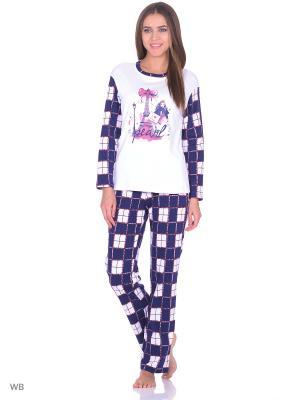 Комплект домашней одежды ( кофта, брюки) HomeLike. Цвет: белый, темно-синий