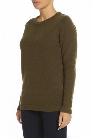 Пуловер с округлым вырезом ICHI. Цвет: 13029 хаки