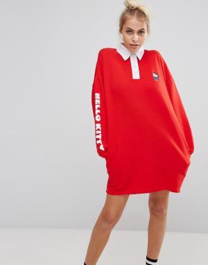 Lazy Oaf Платье-рубашка в стиле регби X Hello Kitty. Цвет: красный