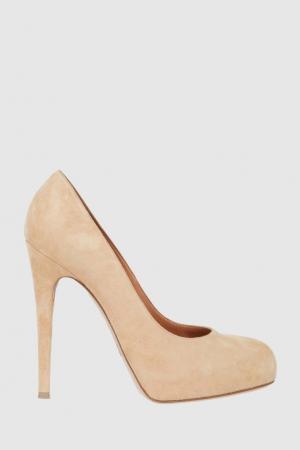 Замшевые туфли Gianvito Rossi. Цвет: бежевый