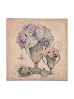 Подставка под горячее Цветы в вазе с корзиной  DAVANA. Цвет: светло-голубой, розовый