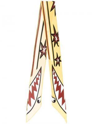 Шелковый шарф с графическим принтом Rockins. Цвет: жёлтый и оранжевый