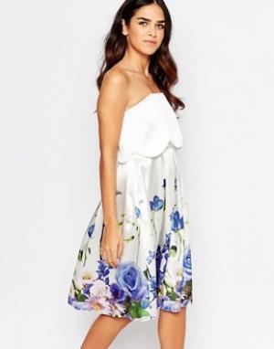Hope and Ivy Платье-бандо с цветочным принтом &. Цвет: белый