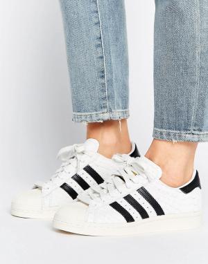 Adidas Премиум-кроссовки в стиле 80-х Superstar. Цвет: белый