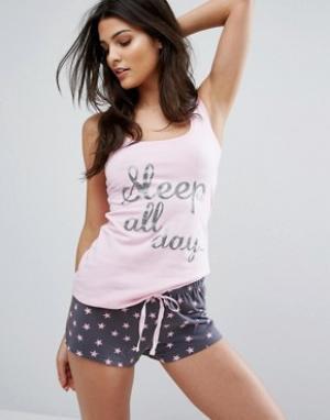 Boux Avenue Пижамный комплект с шортами и принтом Sleep All Day Party Night Bo. Цвет: розовый