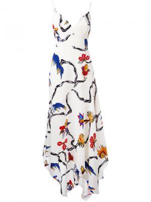 Платье с цветочным принтом La Mania. Цвет: белый