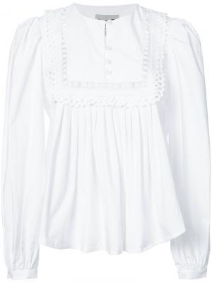 Блузка со сборками и оборками Sea. Цвет: белый