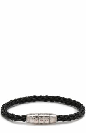 Плетеный кожаный браслет Tateossian. Цвет: черный