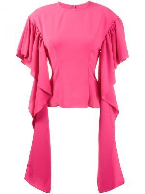 Блузка с длинными драпированными рукавами Rejina Pyo. Цвет: розовый и фиолетовый