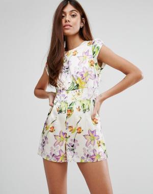Darling Ромпер с садовыми цветами. Цвет: белый