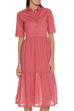 Длинное платье-рубашка с короткими рукавами EUROPEAN CULTURE. Цвет: темный коралл