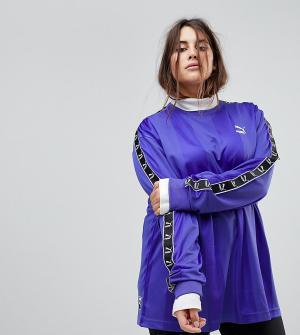 Puma Фиолетовый трикотажный футбольный топ с лентой на рукавах эксклюз. Цвет: синий