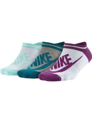 Носки NSW WOMENS -3PPK STRIPED NO SH Nike. Цвет: фиолетовый, бирюзовый, зеленый