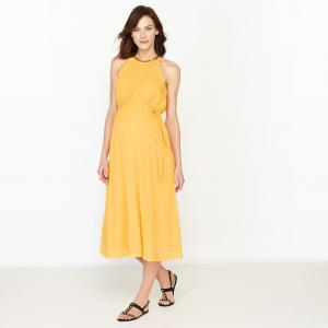 Платье праздничное для периода беременности с блестящими вставками R essentiel. Цвет: желтый,розовый телесный