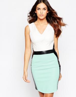 Hybrid Платье миди с V‑образным вырезом и контрастными вставками