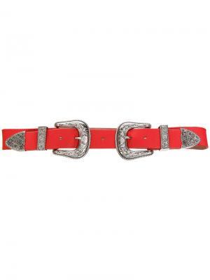 Ремень с двумя пряжками B-Low The Belt. Цвет: красный