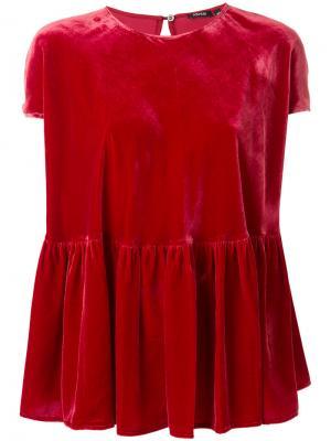 Бархатная расклешенная футболка Aspesi. Цвет: красный