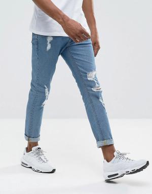 ASOS Выбеленные джинсы скинни с прорехами. Цвет: синий
