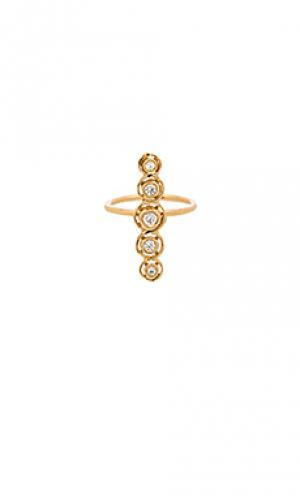 Кольцо с полкой bezel Jacquie Aiche. Цвет: металлический золотой