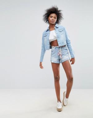 Urban Bliss Джинсовые шорты с поясом-шарфом Frankie. Цвет: синий