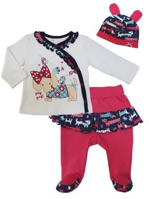 Комплект (кофточка +ползунки+шапочка), Прогулка с Мими Sonia kids. Цвет: белый, розовый, темно-синий