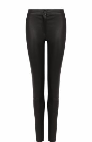 Однотонные кожаные брюки-скинни Ann Demeulemeester. Цвет: черный