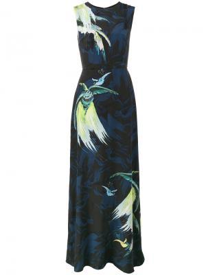 Вечернее платье с принтом Bird Erdem. Цвет: синий