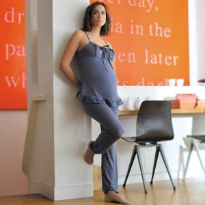 Пижама для периода беременности и кормления грудью DELICIOUS CACHE COEUR. Цвет: серо-синий