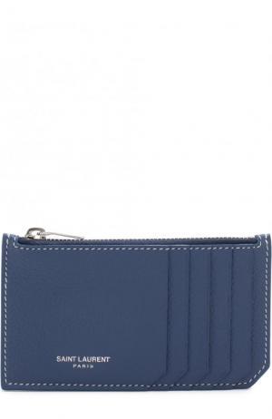 Кожаный футляр для кредитных карт Saint Laurent. Цвет: синий