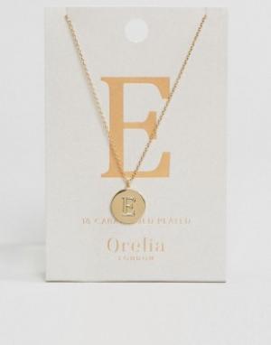 Orelia Позолоченное ожерелье с инициалом Е от. Цвет: золотой