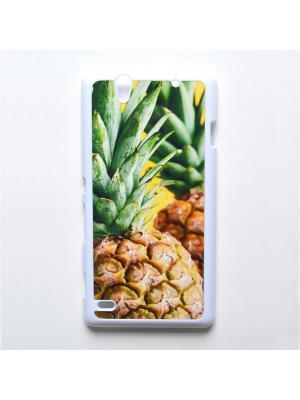 Чехол для Sony Xperia C4 Ананас Boom Case. Цвет: светло-зеленый, светло-желтый