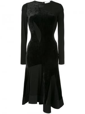 Платье с бархатной отделкой Esteban Cortazar. Цвет: чёрный