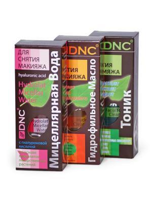 Набор для снятия макияжа: Гидрофильное масло, Мицеллярная вода, Тоник (3х170 мл) DNC. Цвет: голубой, золотистый, прозрачный