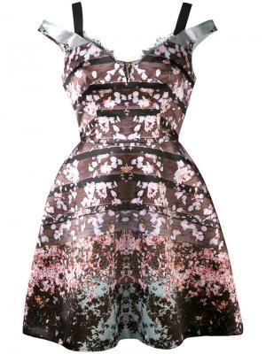 Платье с цветочным принтом Natasha Zinko. Цвет: коричневый
