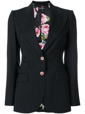 Приталенный пиджак  в полоску Dolce & Gabbana. Цвет: чёрный