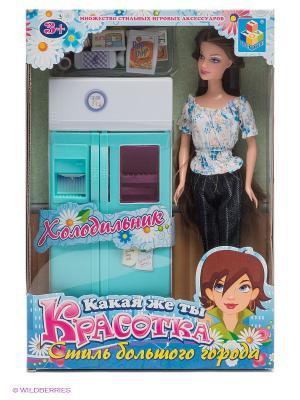 Набор мебели для кукол Красотка. Холодильник 1Toy. Цвет: голубой