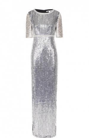Облегающее платье-макси с пайетками и высоким разрезом Diane Von Furstenberg. Цвет: серебряный