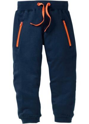 Трикотажные брюки с карманами на молнии (темно-синий) bonprix. Цвет: темно-синий