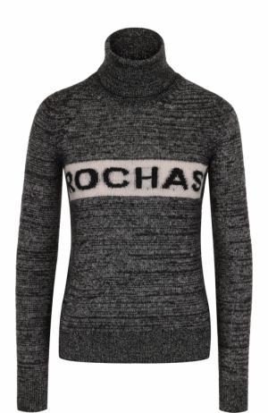 Вязаный свитер с высоким воротником и логотипом бренда Rochas. Цвет: черный