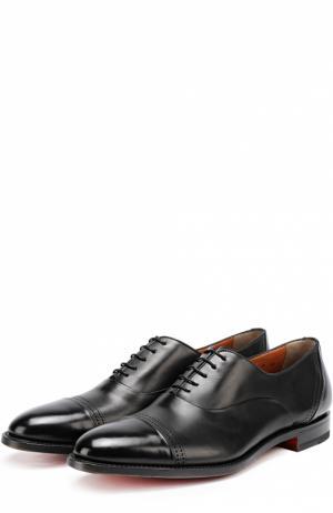 Классические кожаные оксфорды Santoni. Цвет: черный