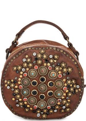 Кожаная сумка через плечо Campomaggi. Цвет: коричневый
