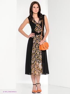 Платье Yulia Dushina. Цвет: черный, оранжевый