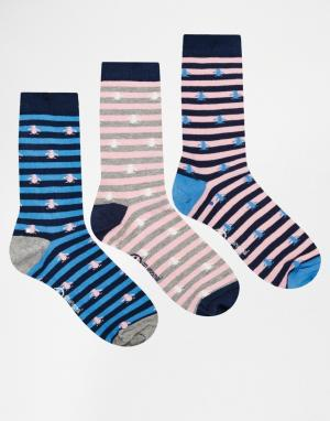 Penguin 3 пары носков. Цвет: мульти
