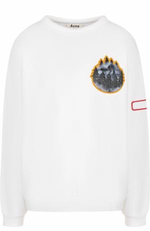 Хлопковый свитшот с круглым вырезом и контрастной отделкой Acne Studios. Цвет: белый